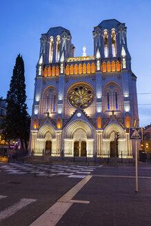 France, Provence-Alpes-Cote d'Azur, Nice, Basilica of Notre-Dame de Nice at dusk - ABOF00379