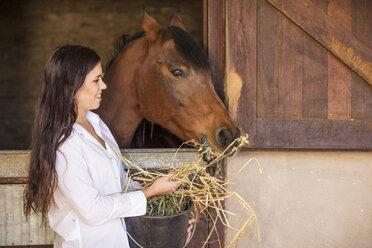 Smiling woman feeding a horse on a farm - ZEF15557