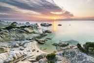 Greece, Macedonia, Chalkidiki, Sarti, Orange Beach at sunset - FPF00166