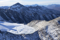Argentina, Tierra del Fuego, Ushuaia, Aerial view of snow covered moutains - CVF00660