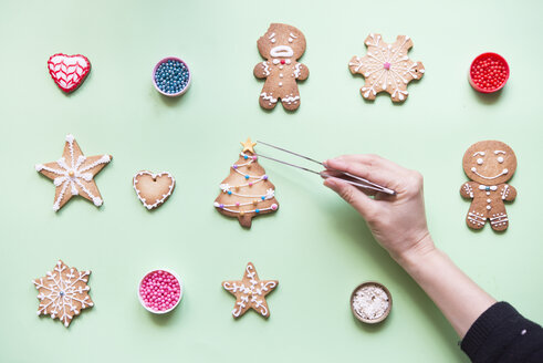 Woman's hand decorating Gingerbread cookies - SKCF00463