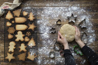 Woman's hands kneading dough for gingerbread cookies - SKCF00469