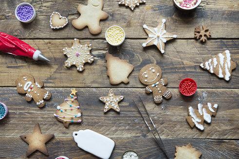 Various Gingerbread Cookies on wood - SKCF00478
