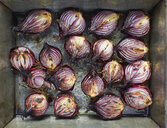 Overhead view of roasted red onion halves with rosemary and olive oil in roasting tin - ISF08606