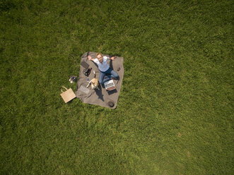 Bird's eye view of woman sitting on blanket on meadow with dog and laptop - ONF01120