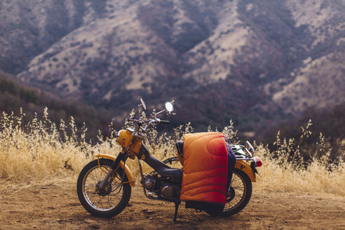 Motorbike with blanket over seat, Sequoia National Park, California, USA - ISF08825