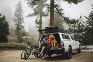 Couple and dog sitting on tailgate of jeep wagon, Sequoia National Park, California, USA - ISF08849