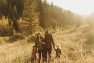 Portrait of family in rural setting, Mineral King, Sequoia National Park, California, USA - ISF08993