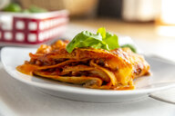 Vegetarian lasagne bolognese with basil and tomato - SARF03761