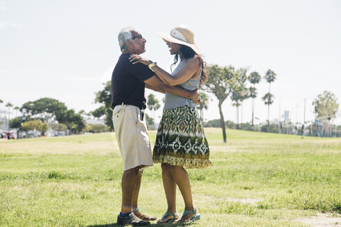 Senior couple dancing outdoors, Long Beach, California, USA - ISF09330