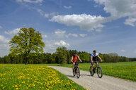 Germany, Upper Bavaria, Fembach, Chiemgau, cyclists - LBF01954