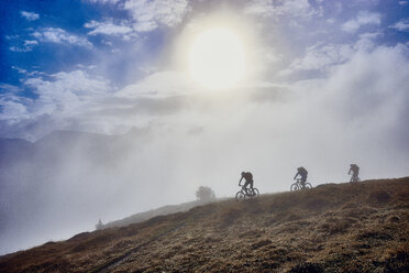 Three people mountain biking, Valais, Switzerland - CUF23884
