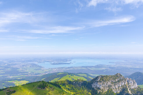 Germany, Bavaria, Chiemgau, Chiemgau Alps, View from Kampenwand to Chiemgau and Chiemsee - MMAF00384