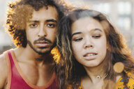 City portrait of intense young couple - ISF09563