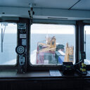 View from the bridge of container ship at sea - CUF25747