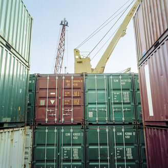 Shipping containers stacked on container ship - CUF25753