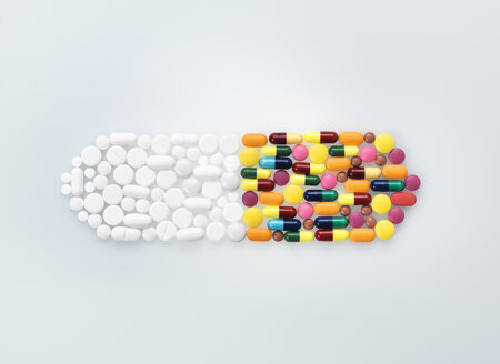 Assorted medical pills and tablets in shape of drug capsule - CUF25765
