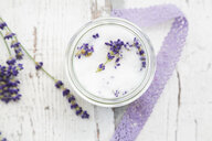 Glass of homemade lavender sugar with lavender blossoms - LVF07052