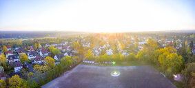 Germany, Bavaria, Nuremberg, Laufamholz, Aerial view of residential area to Moritzberg at sunrise - MMAF00387