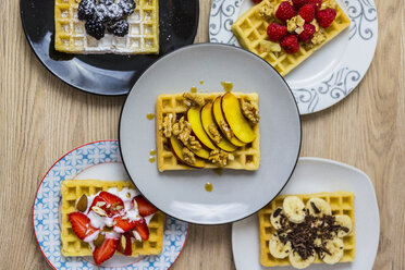 Plates of waffles with various toppings - GIOF03969