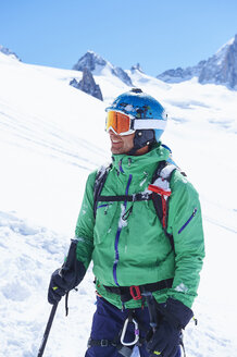 Portrait of mature male skier on Mont Blanc massif, Graian Alps, France - CUF27430