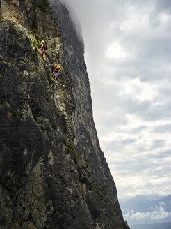 Austria, Tyrol, two rock climbers in Martinswand - CVF00751