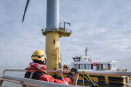 Service boat and wind turbine at offshore windfarm - CUF28192