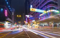 Traffic light trails at night, Hong Kong, China - CUF28272