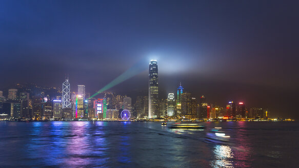 Central Hong Kong skyline and Victoria harbor at night, Hong Kong, China - CUF28326