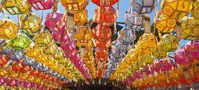 Rows of lanterns honoring buddhas birthday in Naksansa Temple, Naksansa, Yangyang, Gangwon province, South Korea - CUF28398
