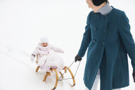 Mother pulling little daughter on sledge - DIGF04575