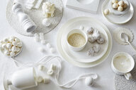 White colored still life with confectionery and sugar cubes - CUF28598