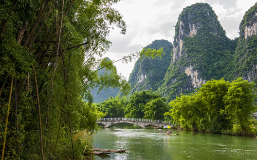 Limestone hills and river valley, Guangxi Zhuang, China - CUF28846