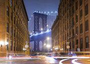 Manhattan Bridge and city apartments at night, New York, USA - CUF30271