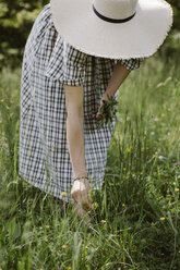 Italy, Veneto, Young woman plucking flowers and herbs in field, close up - ALBF00417