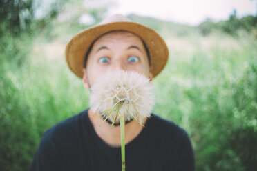 Man in nature starring at blowball, close-up - GEMF02071