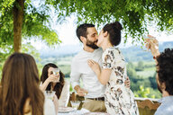 Group of friends having meal together, couple kissing, friends making toast - CUF31487