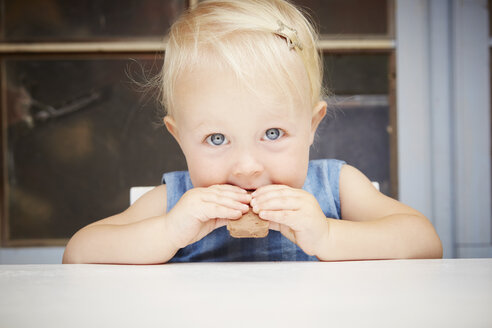 Portrait of cute blonde baby girl looking at camera eating chocolate biscuit - CUF32222