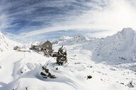 Snow covered landscape with hotel, Val Senales, South Tyrol, Italy - ISF09937