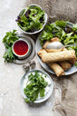 Egg rolls with salad bowls and sweet chilli dipping sauce - ISF09976