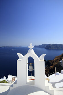 View of bell towers, Oia, Santorini, Cyclades Islands, Greece - CUF32760