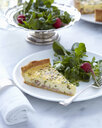 Plate with classic quiche slice and fresh salad - CUF32787