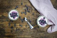 Blueberry yogurt curd dessert on wood - LVF07101