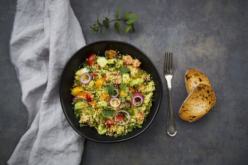 Tabbouleh made of couscous, tomatoes, red onions, cucumber, parsley and mint - LVF07107