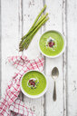Green asparagus soup with pomegranate seeds and black sesame - LVF07110
