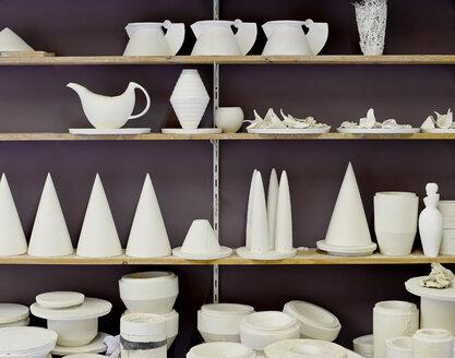 Products on shelf in porcelain workshop - BFRF01859
