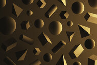 Cubes, pyramids, spheres and cuboids in front of brown background - DRBF00063