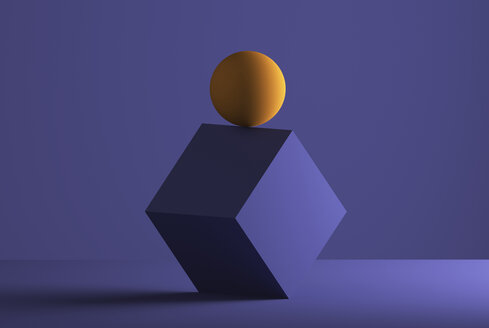 Sphere balancing on the edge of a cube, 3D Rendering - DRBF00066