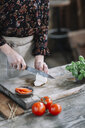 Woman preparing Caprese Salad, partial view - ALBF00520