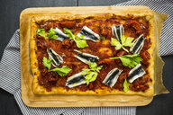 Pizza Marinara garnished with anchovies and parsley - GIOF03973